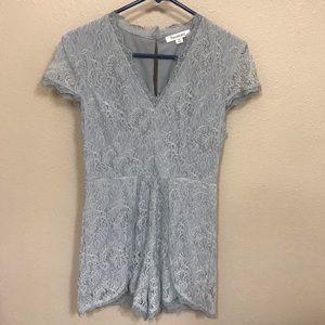Francesca's Size Medium Gray Lace Romper